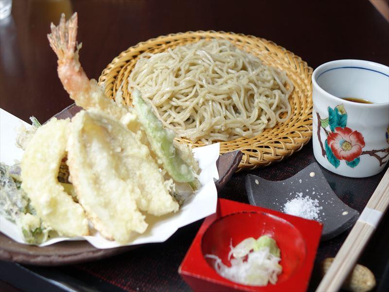 棒茶そばと加賀野野菜天富良